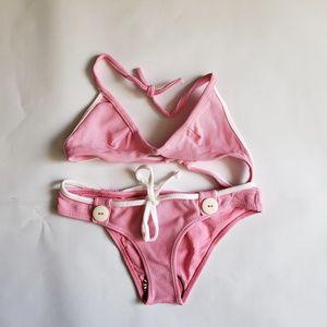 AGUA DOCE Bikini Two Piece Pink with White Trim